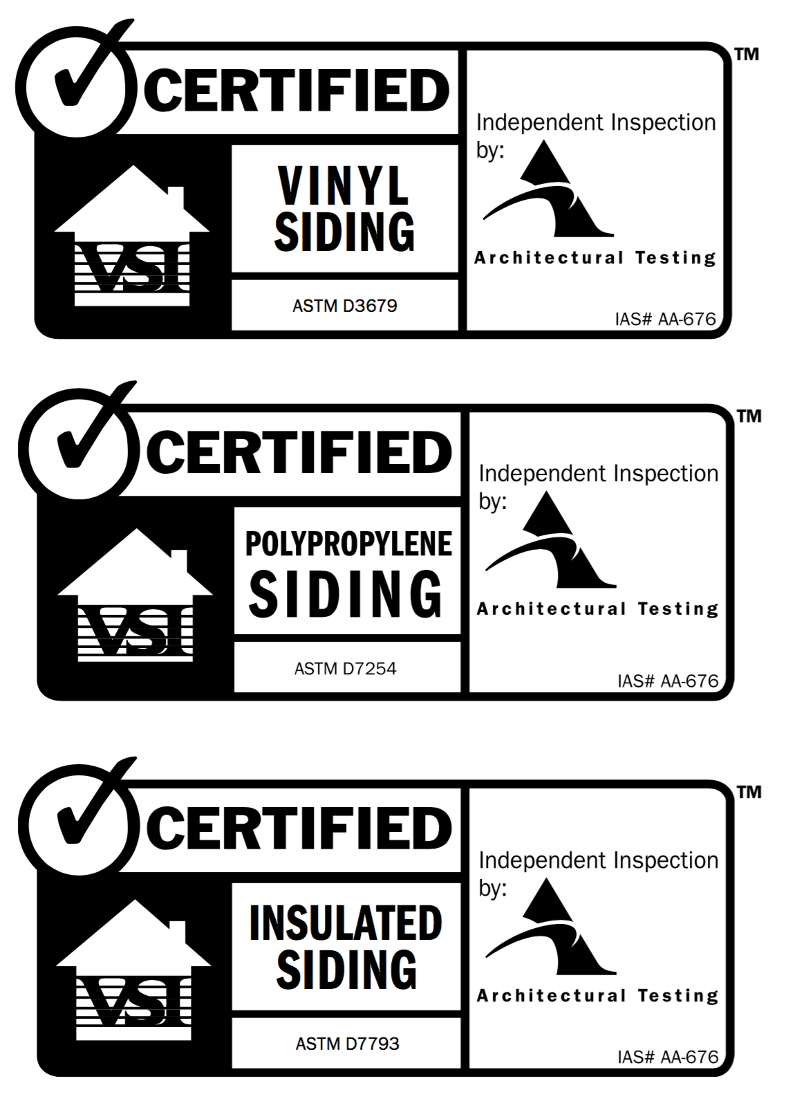 Vinyl Siding Certification Labels